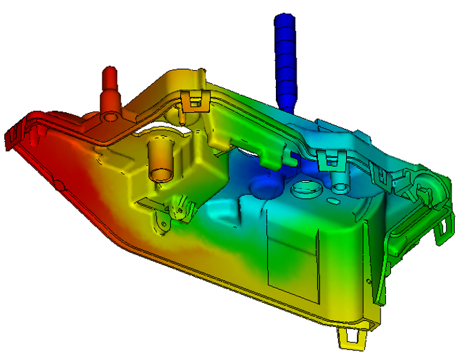Calculs rhéologiques Simulation injection plastique d'un boitier de serrure automobile pour analyse MuCell